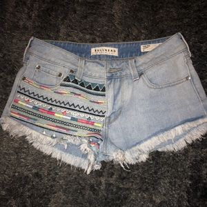 Aztec embroidered low rise shorts
